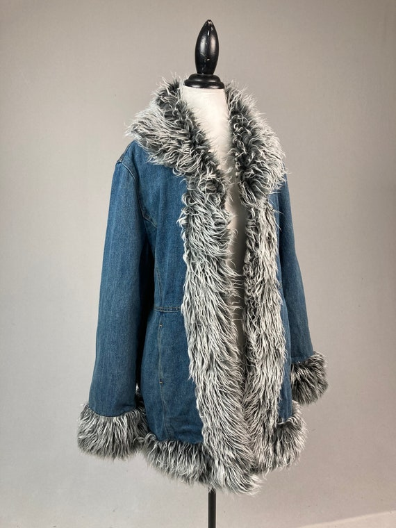 Y2K Denim and Faux Fur Trim Coat - image 4