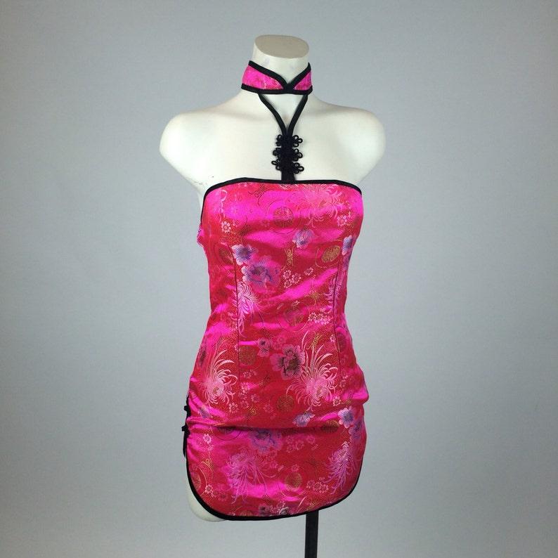 90/'s Pink Cheongsam Asian Mini Halter Dress with Blossoms  M