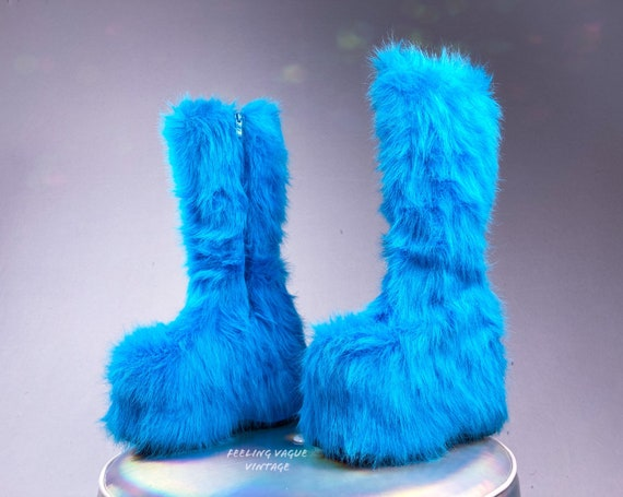 90's Electric Blue Shaggy Faux Fur Platform Wedge