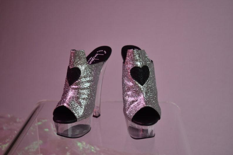 c7441f68626 90 s Vintage Luichiny Glitter heart Platform Wedge Slide