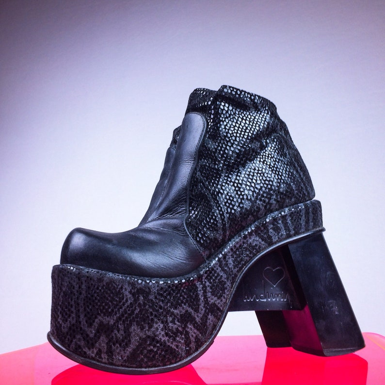 1e59251718cd 90 s Black Mega Platform Sculptural Avant Garde Heel Ankle