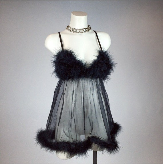 90's Clueless Feather Trim Black Babydoll Lingerie