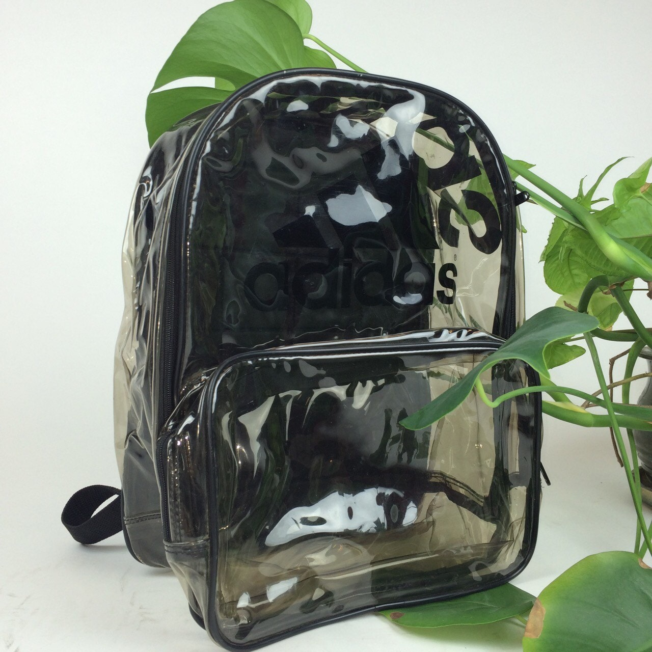90 s Clear Adidas Large PVC See Through Transparent Backpack 3719d8df94663