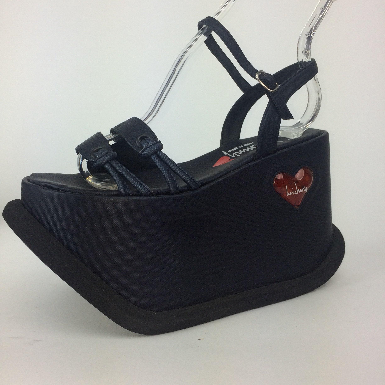 6b88f22240d3 90 s Luichiny MEGA Platform Wedge Leather Ankle Strap Sandals    6