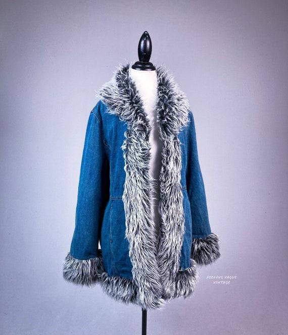 Y2K Denim and Faux Fur Trim Coat - image 1