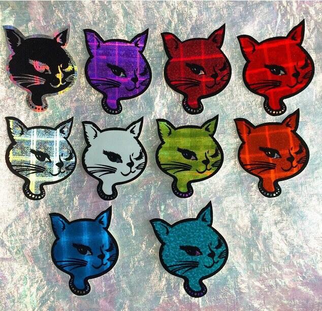 90s winking kitty vending machine hologram prismatic vintage stickers