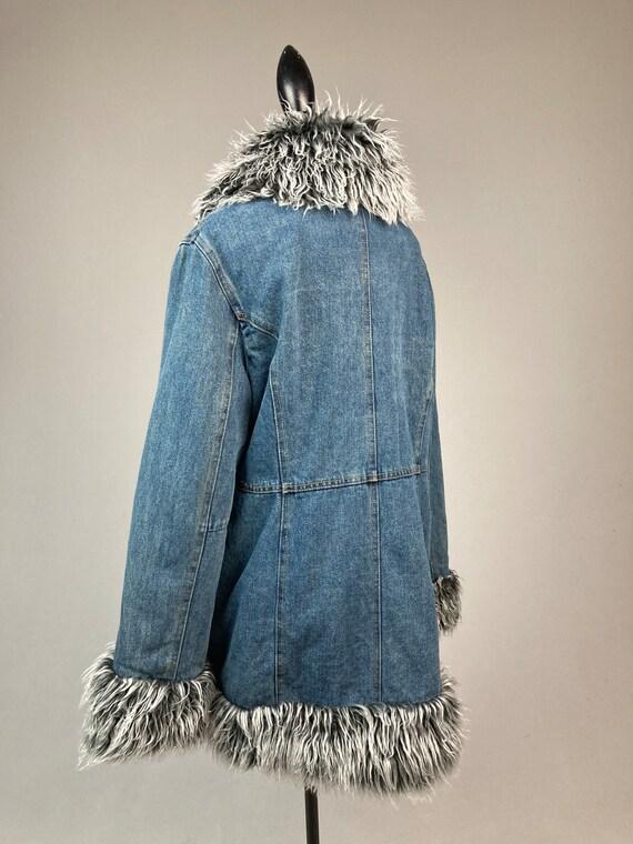 Y2K Denim and Faux Fur Trim Coat - image 6