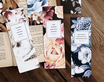 Literary Bookmarks, Set of Six Unique Bookmarks, Book lover Gift for Bookworm, English Major Gift