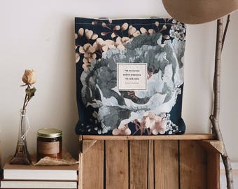 Literary Tote Bag, Floral Tote, Coleridge, Handmade canvas tote bag with pocket, canvas bag, Bookbag, College Student Gift for Women