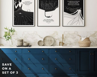 Set of Three Literary Prints Wall Art, Living Room Art Print, Book Lover Gift for Bibliophile