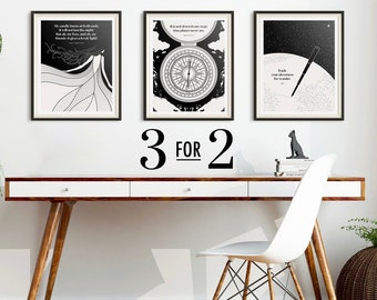 Literary Wall Art Prints Set, Black And White Minimalist Literary Poster,  Book Lover Gift