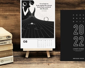 2022 Literary Calendar, Desktop with Easel, Inspirational Bookish Gift for Her or Him, Stocking Stuffer for Book Lover