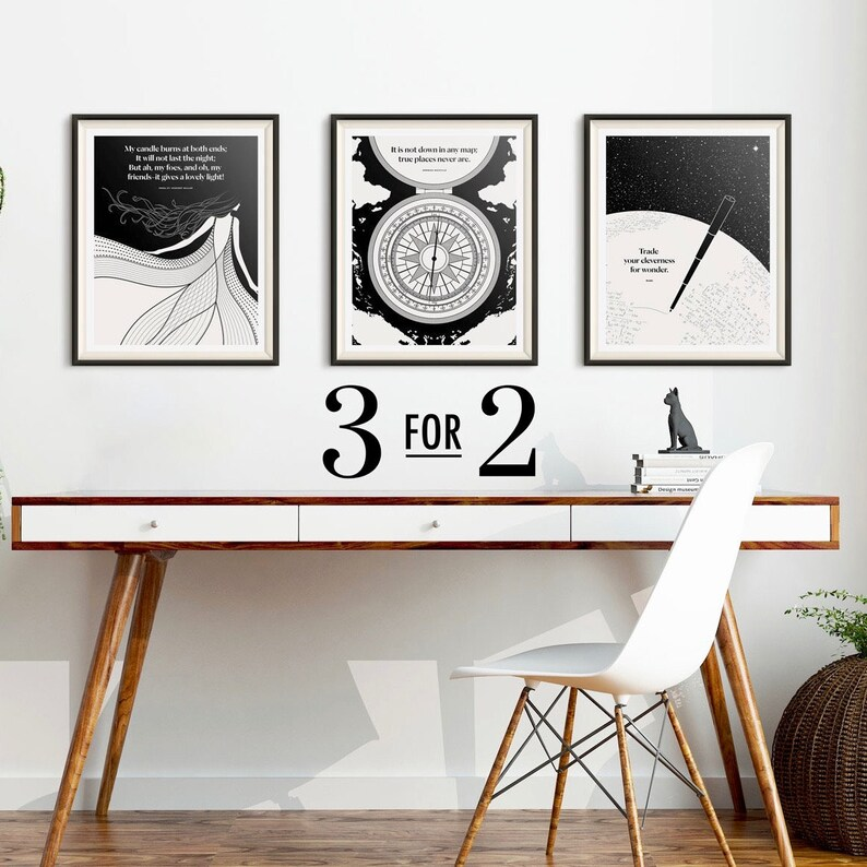 Set of Three Literary Prints Wall Art Living Room Art Print image 0