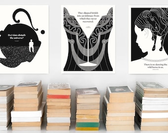 Three Literary Art Prints | Book Lover Gift | Large Wall Art | Literary Poster | Literary Gifts | English Teacher Gift For Bookworm
