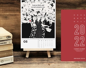 2022 Women Writers Calendar, Desktop Literary Calendar, Bookish Gift for Her, Stocking Stuffer for Book Lover