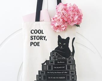 Cool Story, Poe Tote, Edgar Allan Poe Black Cat Tote Bag, Literary Gift for Her, Minimalist Bookish Gift, English Major