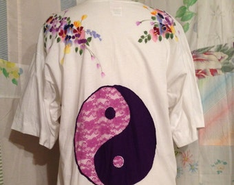 MEDIUM/LARGE, Top Yin Yang Cotton Handpainted Floral Top, Up-cycled, Recycled, OOAK