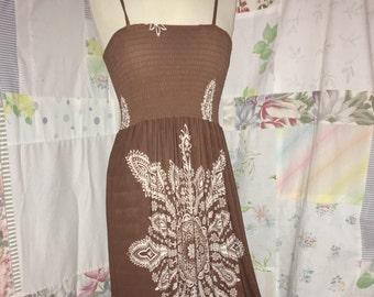 311533a4d0e8 EXTRA SMALL Dress Long Stretch Hippie Boho Brown Spaghetti Strap Bohemian  Indie Dress