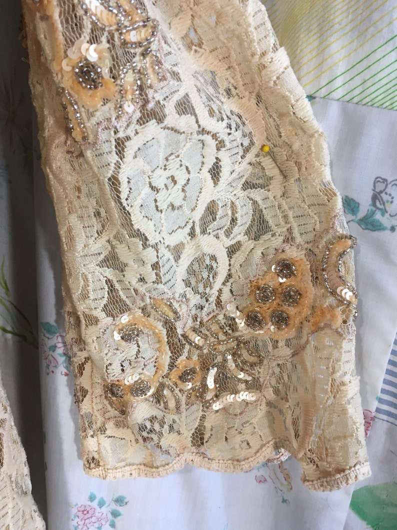 MEDIUM Blouse Sparkle 2 Piece Lace Beaded Embroidered Beige Gold Boho Hippie Bohemian Romantic Top