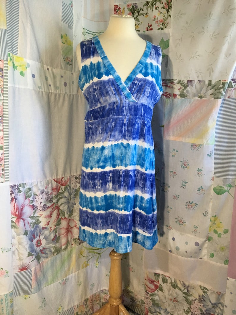 MEDIUM Top Long Cotton Stretch Boho Hippie Bohemian Sleeveless Tie Dye Blue Short Dress Swimsuit Cover