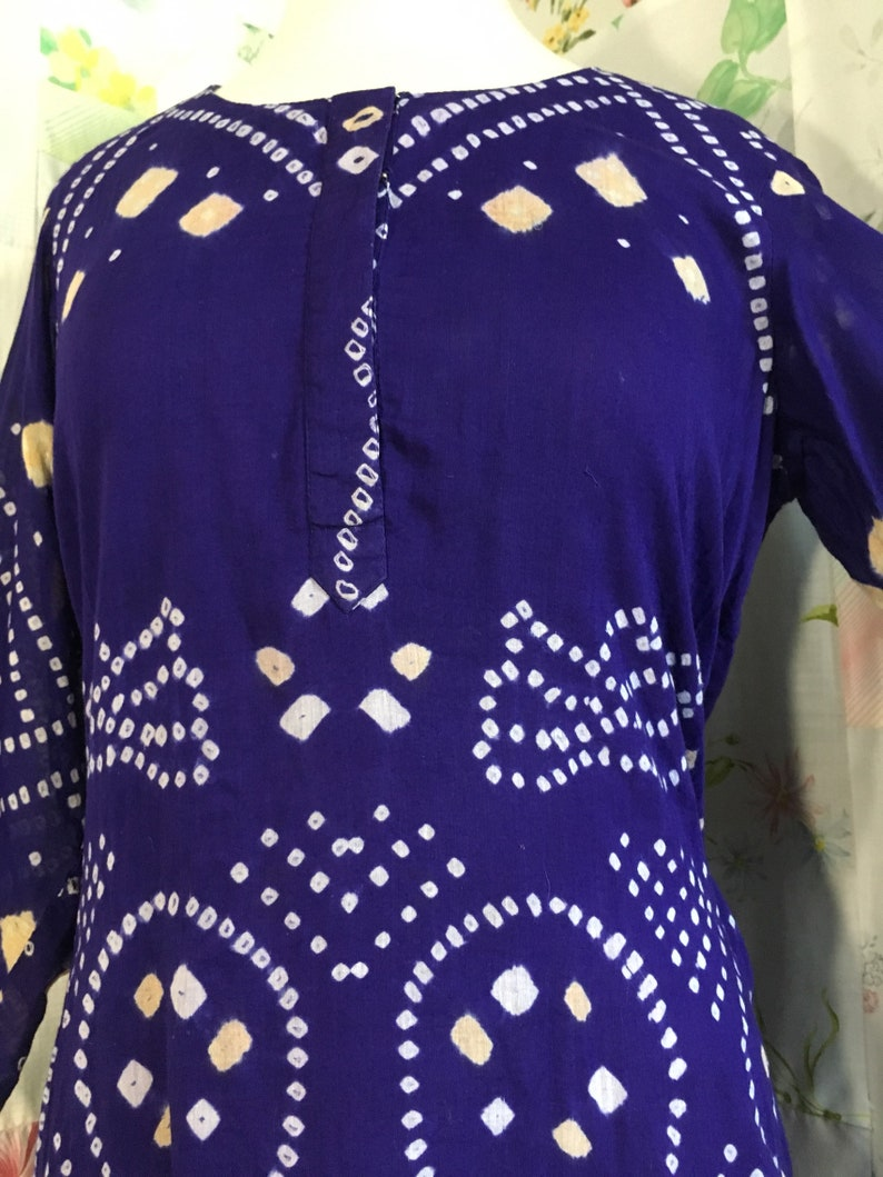 Top Batik Dark Purple Lightweight Cotton Lined Boho Hippie Flowerchild Bohemian Blouse MEDIUM