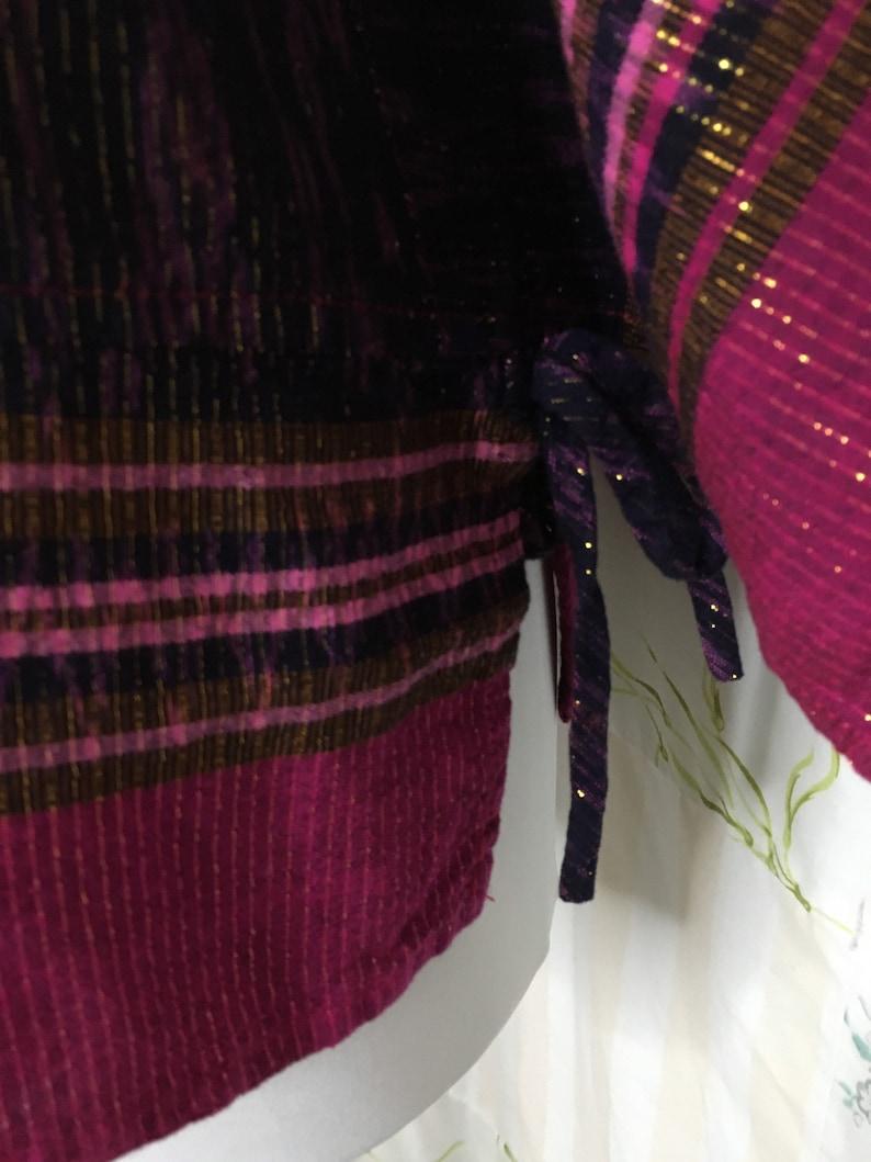 MEDIUMLARGE Top Black Magenta  Bohemian Hippie Flowerchild Boho Lightweight Cotton Blouse