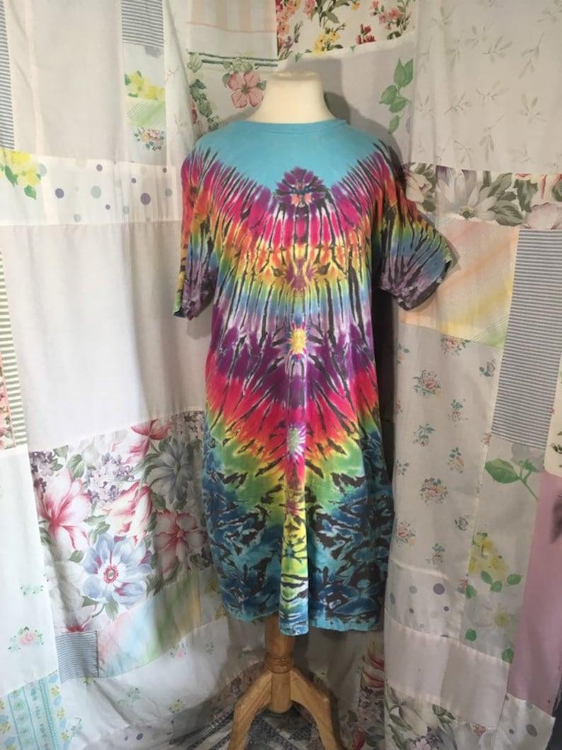 MEDIUMLARGE Hippie Sleepwear Long T-Shirt Long Nightgown Tie Dyed Cotton