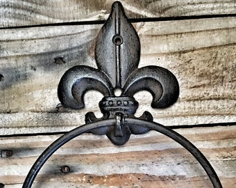Shabby Chic Bathroom Decor,Bathroom Decor,Towel Hanger,Iron Decor,Black Bathroom Decor,Towel Ring,Wall Art,Bathroom Fleur De Lis Wall Decor
