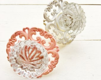 Scalloped Glass Drawer Knobs , Brass Back Plate, Cabinet Knobs, Glass Pulls, Baby Nursery Hardware , Light Pink Metal , Clear Glass Knobs