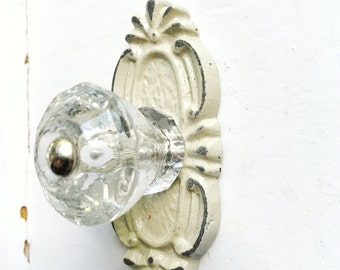 Glass Knob , Cast Iron Knob Base, Drawer Knobs, Cabinet Knobs, Decorative Knobs, Home Decor, Dresser Knobs, Elegant Knobs, Back Plate