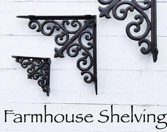 Shabby Chic, Iron Brackets, Iron Shelf Brackets, Shelf, Shelf Decor, Rustic, Metal Brackets, Cottage Chic Decor, Elegant, Iron Shelf Bracket