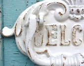 Door Knocker Rustic Cast Iron Cottage Inspired Old Fashioned - Shabby Chic White - Front Door Knocker - Metal Wall Decor - Patio Decor