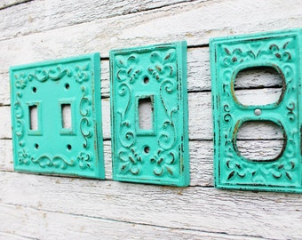 Double Light Switch Cover, Switch Plate,Double Switch Plate Cover,Bathroom Decor,Cast Iron Fleur De Lis Cover plate, Wall decor,In Sea Glass