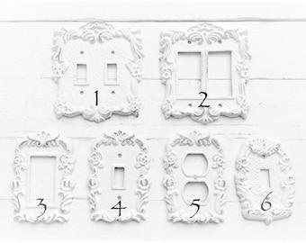 Shabby Chic Light Switch Covers Double Rocker GFI , Switch Plate Covers , Light Switch Plate , Outlet GFI , Shabby Chic Nursery , Wall Plate
