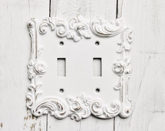 Distressed Metal Wall Decor- Double Light Switch Cover- White Shabby Chic-Roses-Ornate-Distressed-Spring Flowers-Roses-Winter Trends