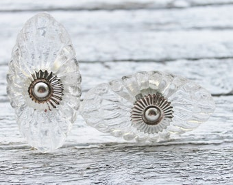 Shabby Chic Clear Glass Knobs -Dresser Drawer Knobs Pulls Handles-Crystal Knob-Kitchen Hardware-French Cottage Bedroom-Craft Fair Furniture