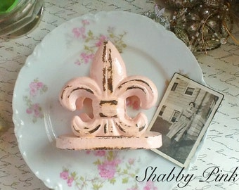 Shabby Pink Fleur De Lis Business Card Holder-Cast Irion-Cottae Style-Shabby Chic- French-Jet Black-Office Desk - Ebony Black-Spring