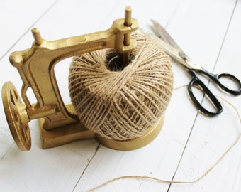 Cast Iron Sewing Machine With Twine Spool-Notions-Jute String-In Muted Gold-Free Twine Included-Rustic Home Decor-Cabin Accessories