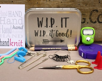 Knitting Notions Tin- W.I.P. It W.I.P. It Good, Project Bag Tool Tin, Knitting Notions, Knitting Tool Box, Gift for Knitters, Knitting Kit