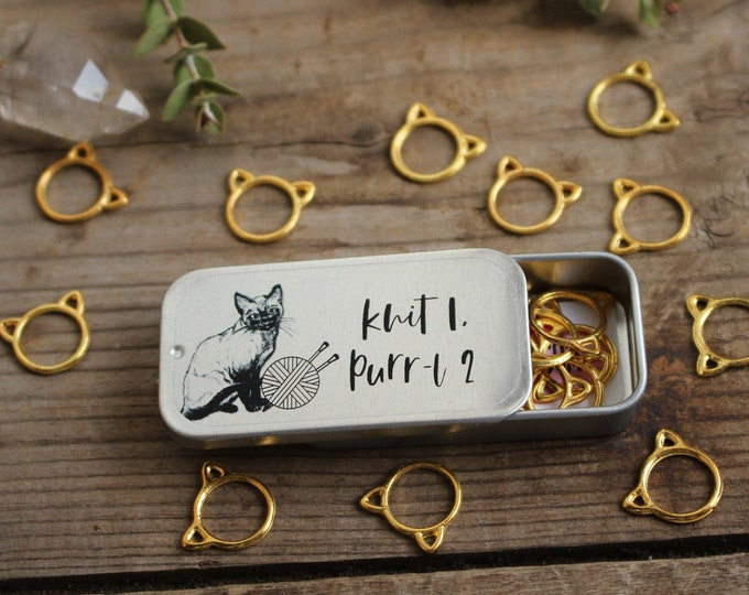 Featured listing image: Golden Kitten Stitch Markers