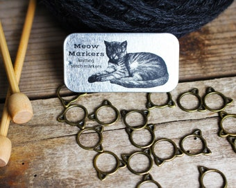 Cat Stitch Markers-20 Small Bronze Kittens, Cat Knitting Stitch Markers, Kitten Stitch Markers, Gift for Cat Lover, Knitting Accessories