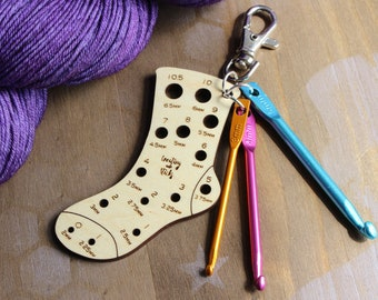 Mini Sock Knitting Needle Gauge with Stitch Fixers & Bag Clasp/ Knitting Accessories and Gifts/ Knitting Tools/ Knitting Notions/