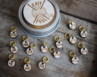 Knit Purl Sock Knitting Stitch Markers with Abbreviations, Laser Engraved Sock Stitch Markers, Gift For Knitter, Gift for Dad who Knits