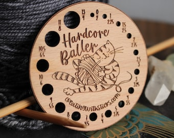 Knitting Needle Gauge- Laser Engraved Beech Wood Cat and Yarn Gauge- Gift for Knitter- Knitting Accessory- Knitting Tool- Gift for Her