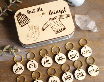 Knitting Instruction Engraved Stitch Markers and Storage Tin- Knit ALL of the Things/ Knitting Accessories/ Knitting Gifts
