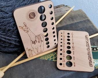 Alpaca Laser Engraved Beech Wood Knitting Needle Gauge- Gift for Knitter- Knitting Accessory- Knitting Tool- Gift for Her- Alpaca Lover