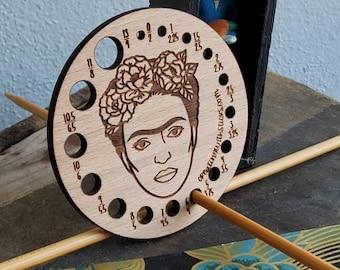 Frida Kahlo Knitting Needle Gauge- Laser Engraved Beech Wood Knitting Needle Gauge- Gift for Knitter- Knitting Accessory- Knitting Tool