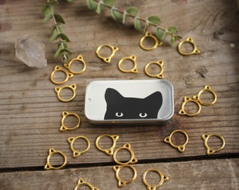 Cat Stitch Markers-20 Small Gold Kittens, Cat Knitting Stitch Markers, Kitten Stitch Markers, Gift for Cat Lover, Knitting Accessories