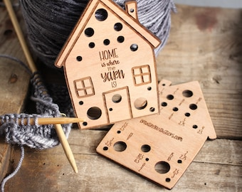 Knitting Needle Gauge House- Laser Engraved Beech Wood Knitting Needle Gauge- Gift for Knitter- Knitting Accessory- Knitting Tool