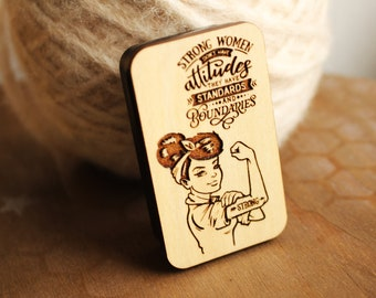 Strong Women Don't Have Attitudes- Magnetic Top Sliding Storage Tin